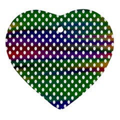 Digital Polka Dots Patterned Background Heart Ornament (two Sides)