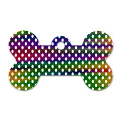 Digital Polka Dots Patterned Background Dog Tag Bone (One Side)