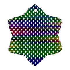 Digital Polka Dots Patterned Background Snowflake Ornament (two Sides)