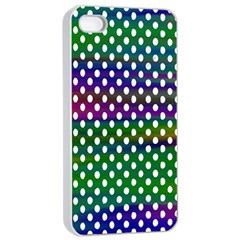 Digital Polka Dots Patterned Background Apple iPhone 4/4s Seamless Case (White)