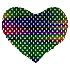Digital Polka Dots Patterned Background Large 19  Premium Heart Shape Cushions