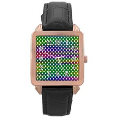 Digital Polka Dots Patterned Background Rose Gold Leather Watch