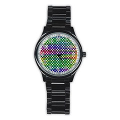 Digital Polka Dots Patterned Background Stainless Steel Round Watch
