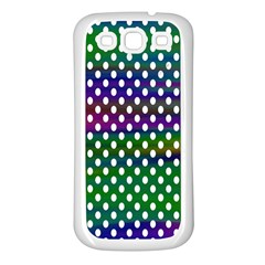 Digital Polka Dots Patterned Background Samsung Galaxy S3 Back Case (white)
