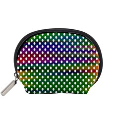 Digital Polka Dots Patterned Background Accessory Pouches (Small)