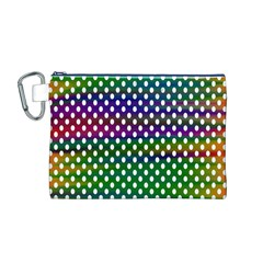 Digital Polka Dots Patterned Background Canvas Cosmetic Bag (M)