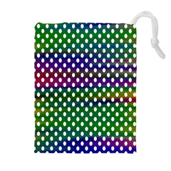 Digital Polka Dots Patterned Background Drawstring Pouches (Extra Large)