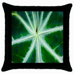 Green Leaf Macro Detail Throw Pillow Case (Black)