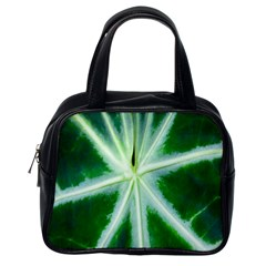 Green Leaf Macro Detail Classic Handbags (one Side)