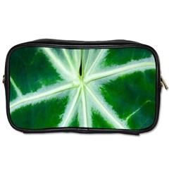 Green Leaf Macro Detail Toiletries Bags 2 Side
