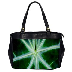 Green Leaf Macro Detail Office Handbags