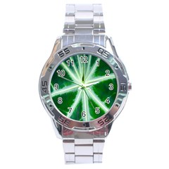 Green Leaf Macro Detail Stainless Steel Analogue Watch