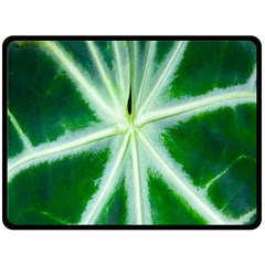 Green Leaf Macro Detail Double Sided Fleece Blanket (large)