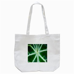 Green Leaf Macro Detail Tote Bag (white)