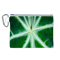 Green Leaf Macro Detail Canvas Cosmetic Bag (L)