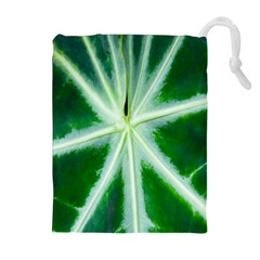 Green Leaf Macro Detail Drawstring Pouches (Extra Large)