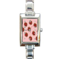 Pink Polka Dot Background With Red Roses Rectangle Italian Charm Watch