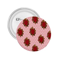 Pink Polka Dot Background With Red Roses 2.25  Buttons
