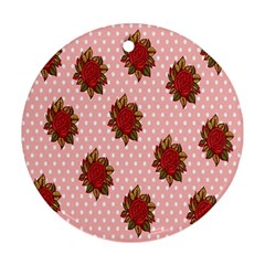 Pink Polka Dot Background With Red Roses Ornament (Round)