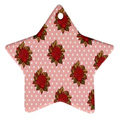 Pink Polka Dot Background With Red Roses Ornament (Star)