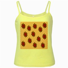 Pink Polka Dot Background With Red Roses Yellow Spaghetti Tank