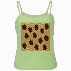 Pink Polka Dot Background With Red Roses Green Spaghetti Tank