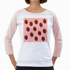Pink Polka Dot Background With Red Roses Girly Raglans