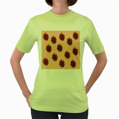 Pink Polka Dot Background With Red Roses Women s Green T-Shirt