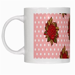 Pink Polka Dot Background With Red Roses White Mugs