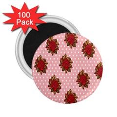 Pink Polka Dot Background With Red Roses 2.25  Magnets (100 pack)