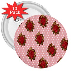Pink Polka Dot Background With Red Roses 3  Buttons (10 Pack)