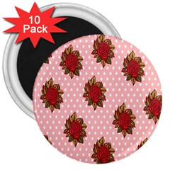 Pink Polka Dot Background With Red Roses 3  Magnets (10 Pack)