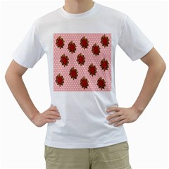 Pink Polka Dot Background With Red Roses Men s T Shirt (white) (two Sided)