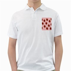 Pink Polka Dot Background With Red Roses Golf Shirts
