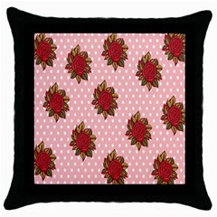Pink Polka Dot Background With Red Roses Throw Pillow Case (black)