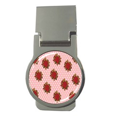 Pink Polka Dot Background With Red Roses Money Clips (round)