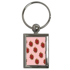 Pink Polka Dot Background With Red Roses Key Chains (Rectangle)