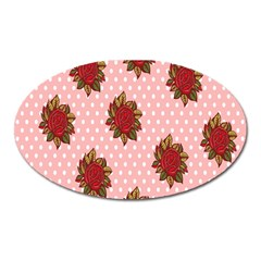 Pink Polka Dot Background With Red Roses Oval Magnet