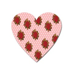 Pink Polka Dot Background With Red Roses Heart Magnet