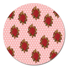 Pink Polka Dot Background With Red Roses Magnet 5  (Round)