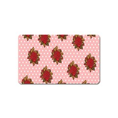 Pink Polka Dot Background With Red Roses Magnet (Name Card)