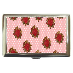 Pink Polka Dot Background With Red Roses Cigarette Money Cases