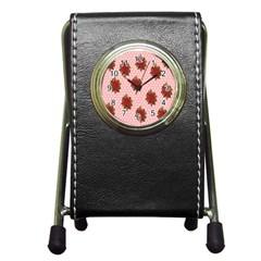 Pink Polka Dot Background With Red Roses Pen Holder Desk Clocks