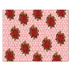Pink Polka Dot Background With Red Roses Rectangular Jigsaw Puzzl