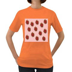 Pink Polka Dot Background With Red Roses Women s Dark T Shirt