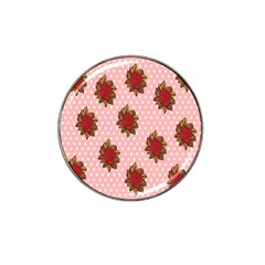 Pink Polka Dot Background With Red Roses Hat Clip Ball Marker (4 Pack)