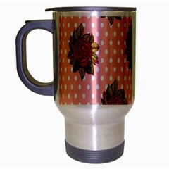 Pink Polka Dot Background With Red Roses Travel Mug (silver Gray)