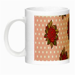 Pink Polka Dot Background With Red Roses Night Luminous Mugs
