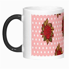 Pink Polka Dot Background With Red Roses Morph Mugs