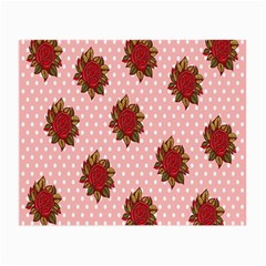 Pink Polka Dot Background With Red Roses Small Glasses Cloth